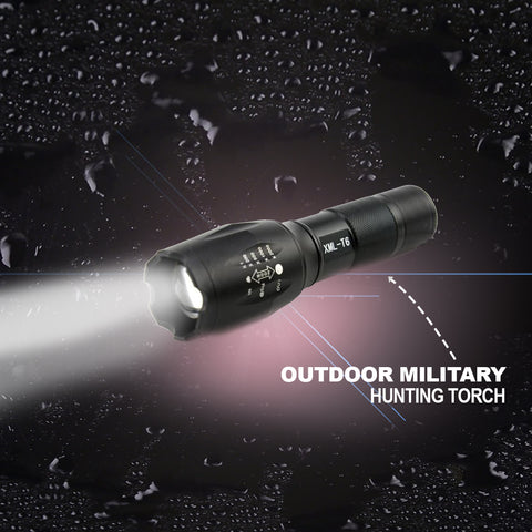 Outdoor Military Hunting Torch - (with FREE High Capacity 18650 Lithium Batteries)