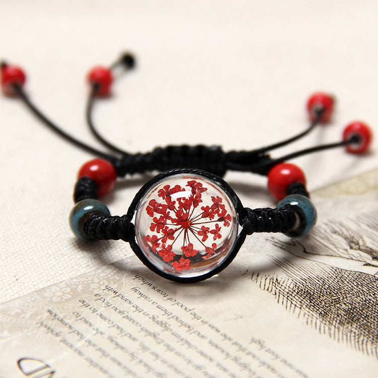 10 Color Natural Dried Flower Bracelet For Women's Jewelry Cherry blossom Life time gem Hand-knitted national  Accessories - Shoplootlos