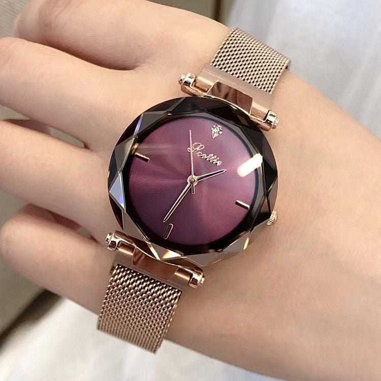 2018 Luxury Brand lady Crystal Watch Magnet buckle Women Dress Watch Fashion Quartz Watch Female Stainless Steel Wristwatches - Shoplootlos