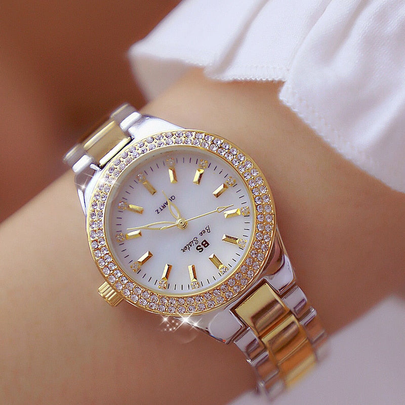 2018 Luxury Brand lady Crystal Watch Women Dress Watch Fashion Rose Gold Quartz Watches Female Stainless Steel Wristwatches - Shoplootlos