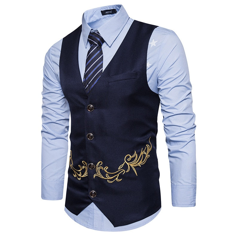 2018 Men Bronzing Vest Waistcoat Single Breasted Wedding Groom Slim Fit Vests Party Dress Men Suit Vest Chaleco Hombre - Shoplootlos