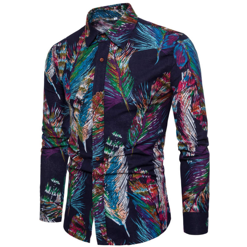 2018 New Fashion Casual Men Shirt Long Sleeve Europe Style Slim Fit Shirt Men High Quality Cotton Floral Shirts Mens Clothes 5XL - Shoplootlos