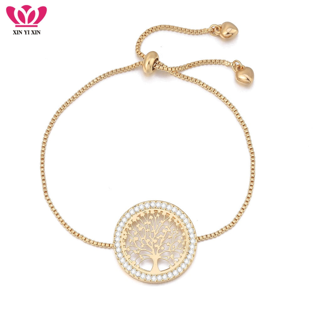 2018 New pulseira mujer moda Clear Crystal Gold Charm Bracelets Bangles For Women Tree of Life Adjustable Bracelet Jewelry Gift - Shoplootlos
