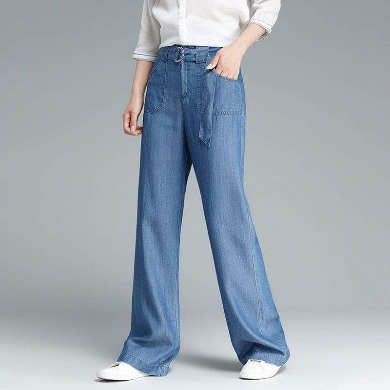2018 Spring New Tencel Jeans Women Loose Wide Leg Jeans Female Blue Stonewashed Soft Straight Long Leisure Jeans With Belt S 5XL