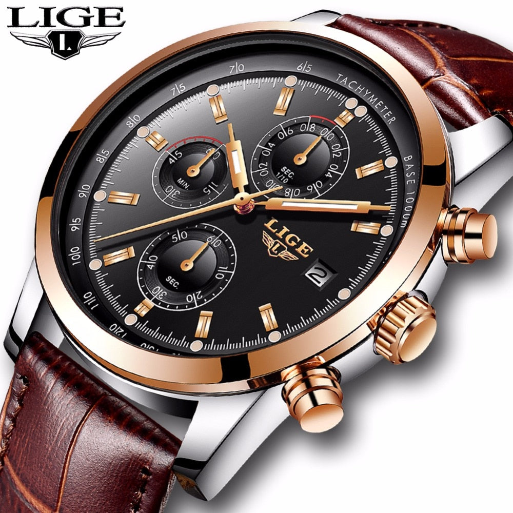2018New LIGE Mens Watches Top Brand Luxury Leather Quartz Watch Men Military Sport Waterproof Clock Gold Watch Relogio Masculino