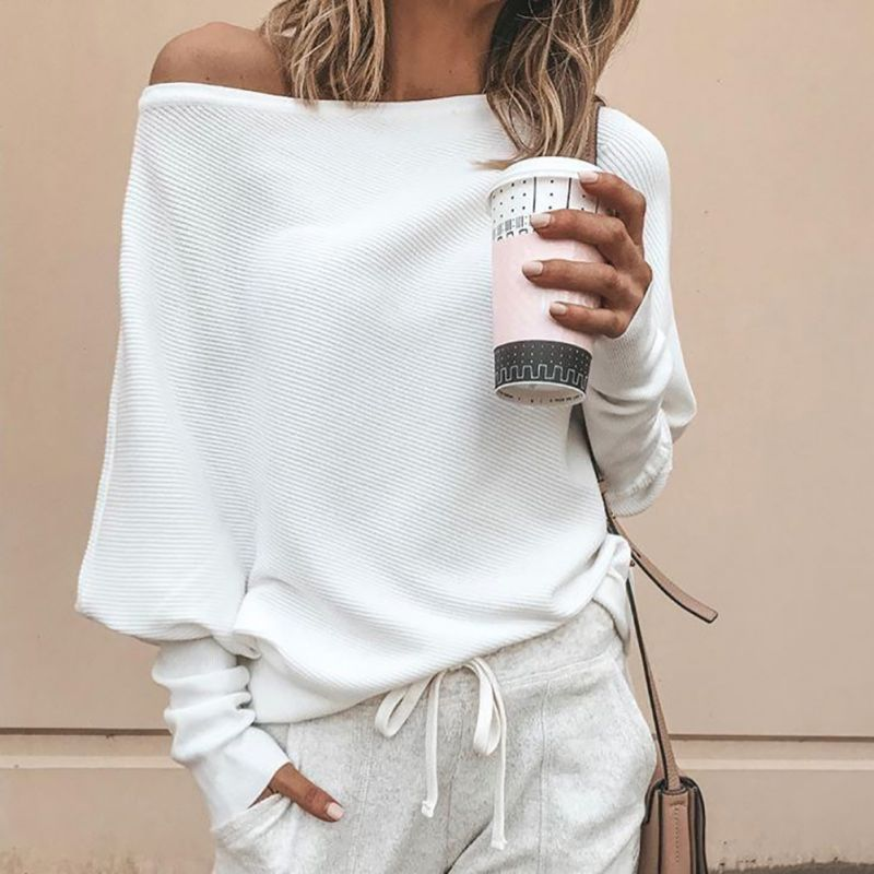 2019 Fashion Women\'s Solid Slash Neck Batwing Sleeve Autumn Baggy Top Ladies Off Shoulder T Shirt 1X