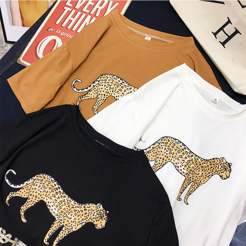 2019 Femme Spring Summer Leopard Print O-Neck T shirt Ladies Short sleeve Cotton Casual New Tee shirt women Tops camisetas mujer