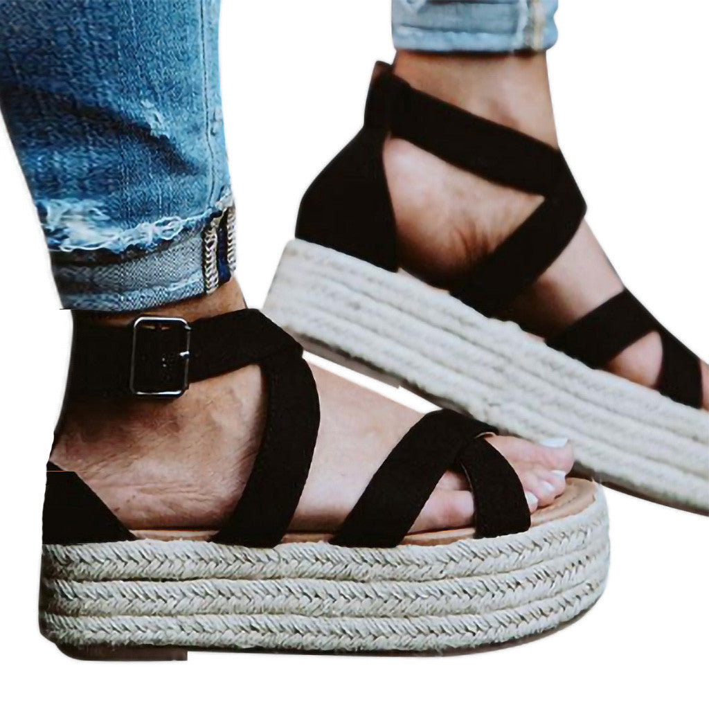 2019 Ladies Sandals Women Fashion Platform Wedge Pumps Shoes Straw Thick Bottom Shoes Lady Girl Roman Sandals Sandalia Feminina - Shoplootlos