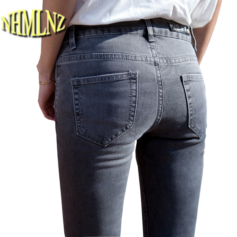 2019 Latest Fashion Student Glamour jeans woman Casual Large size Women Spring Office Jeans Tight Slim women jeans OK717