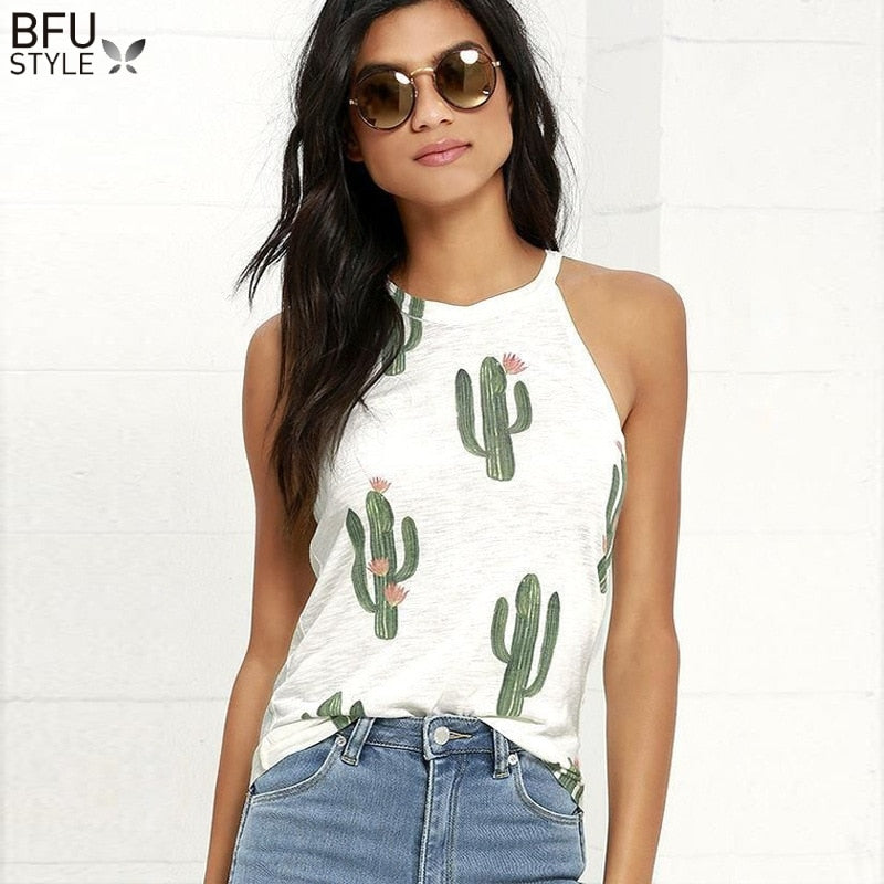 2019 Summer Cactus Print Women T Shirt Casual Halter Harajuku Women TShirt Tops Tees Female Shirts Camiseta Women Tops