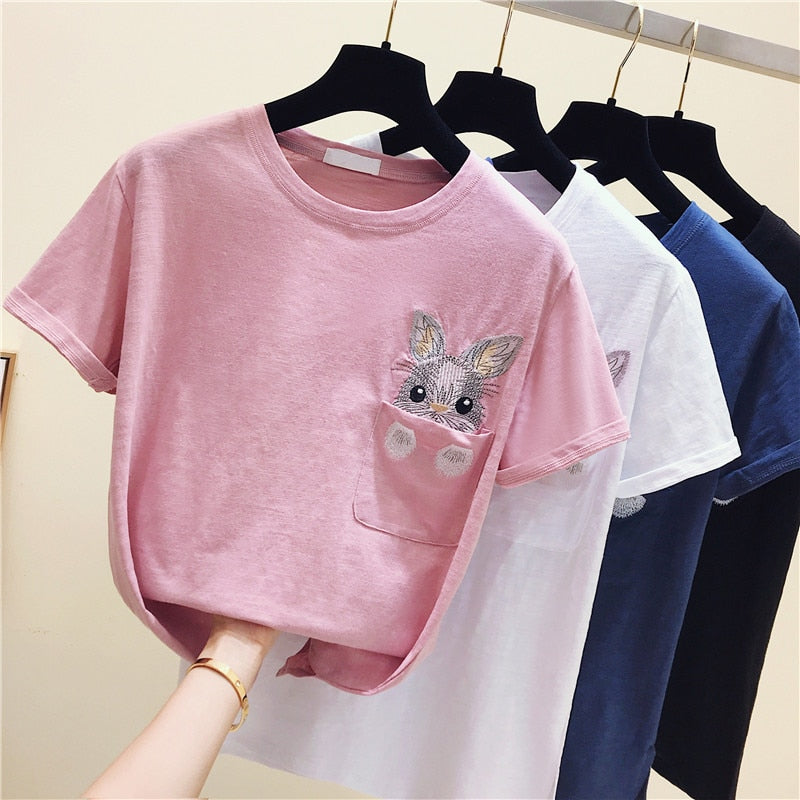 2019 Summer spring cotton t shirts for women embroidery rabbit pocket cartoon t-shirts female casual t-shirt ladies top tees