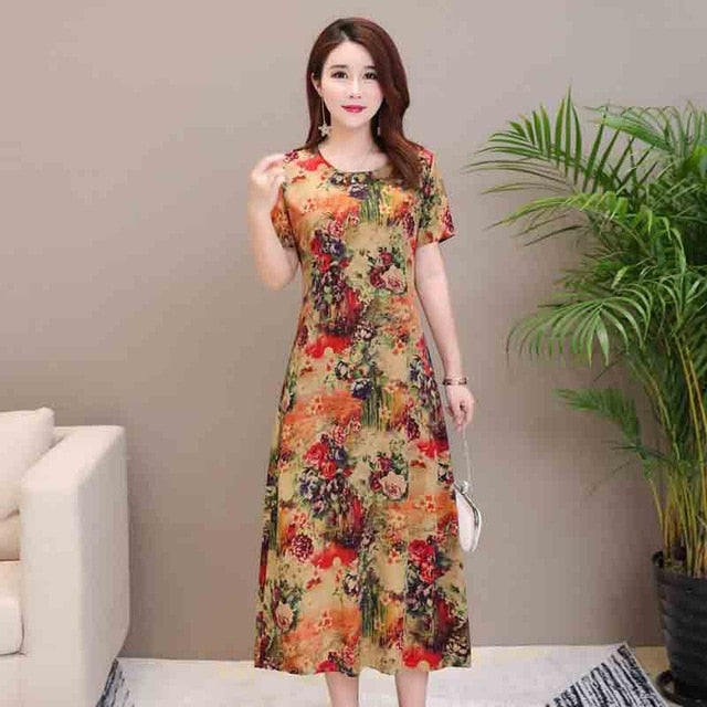 2019 Summer style women dresses casual print vintage long vestidos plus  size dress women robe femme