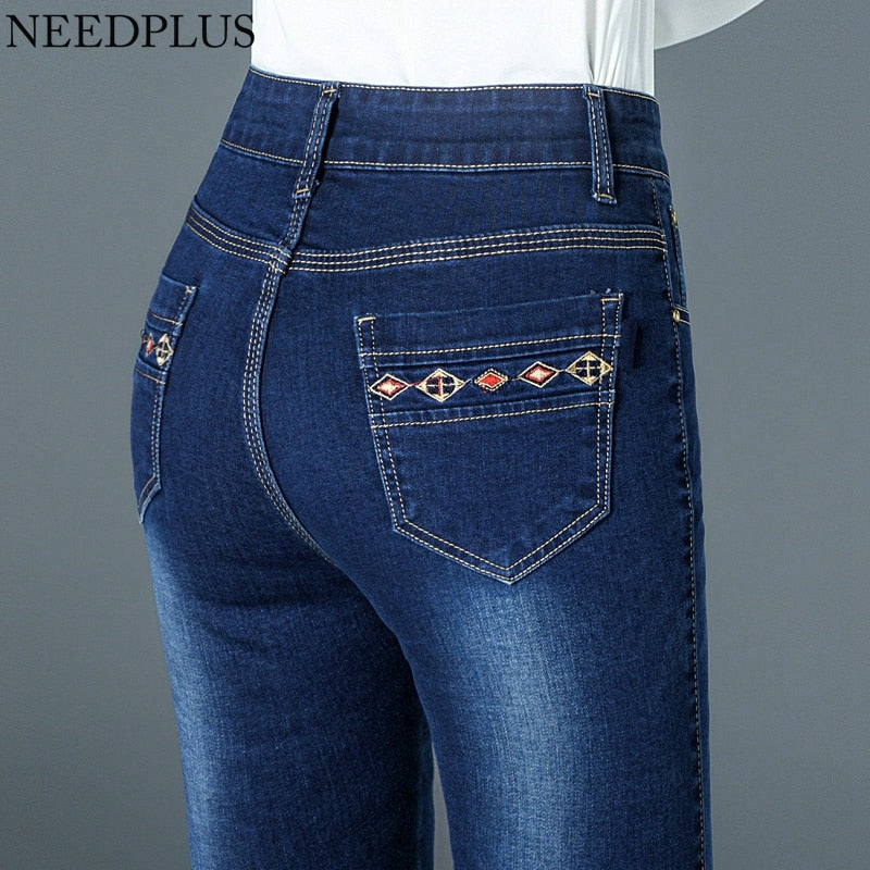 Lovely High Waist Sexy Push Up Stretch Patchwork Jeans For Women Cute Ladies High Wasited Skinny Butt Lift Jeans Denim Pants Plus Size Bottoms