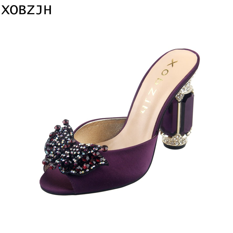 8e947659b5b 2019 Women Shoes High Heels Summer Luxury Ladies Wedding Party Purple High  Slippers Open Toe Silk