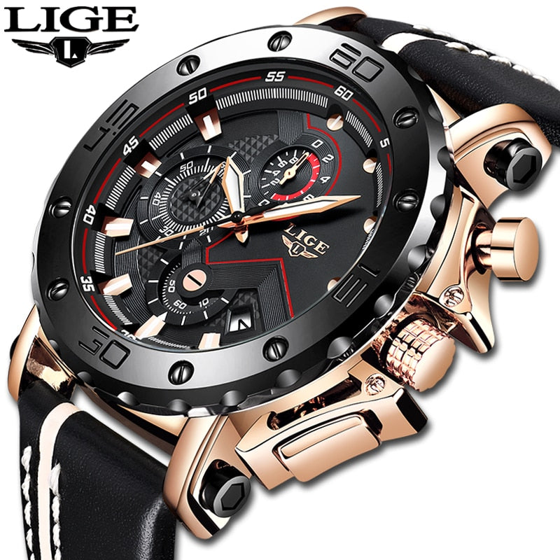 2019LIGE New Fashion Mens Watches Top Brand Luxury Big Dial Military Quartz Watch Leather Waterproof Sport Chronograph Watch Men - Shoplootlos