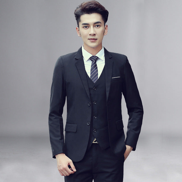 3 Piece Gray Suit Men 2019 Brand New Single Breasted Two Button Mens Suits  With Pants Business Casual Tuxedo Suit Costume Homme