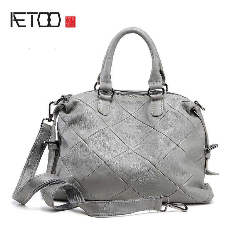AETOO New women leather leather Europe and the United States simple bag fashion classic leather bag ladies oblique shoulder bag - Shoplootlos