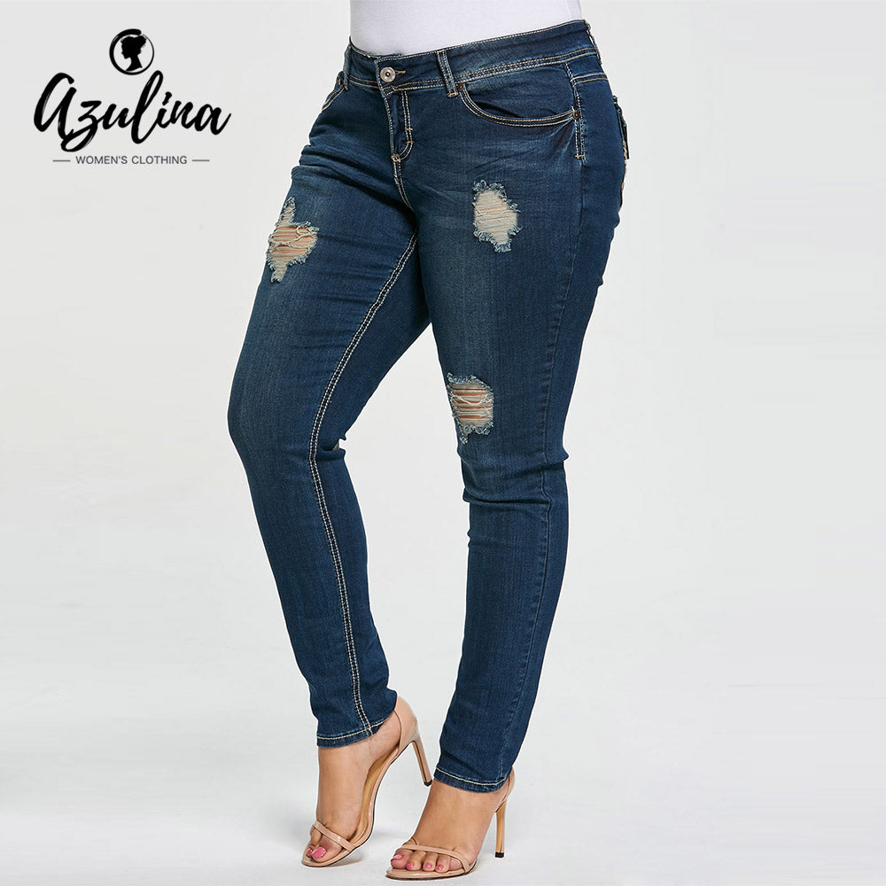 AZULINA Plus Size Ripped Jeans Skinny 5-Pocket Frayed Holes Zipper Fly Pencil Pants Women Jeans Casual Denim Pant Trousers 2018