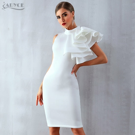 2651d46ee0 Adyce 2019 New Summer Women Celebrity Party Dress Vestidos Sexy White Red  Sleeveless Ruffles Bodycon Midi Bodycon Club Dresses