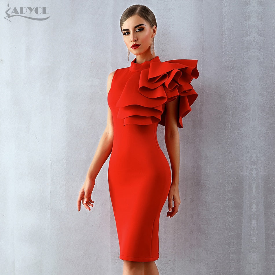 Adyce 2019 New Summer Women Celebrity Party Dress Vestidos Sexy White Red Sleeveless Ruffles Bodycon Midi Bodycon Club Dresses - Shoplootlos