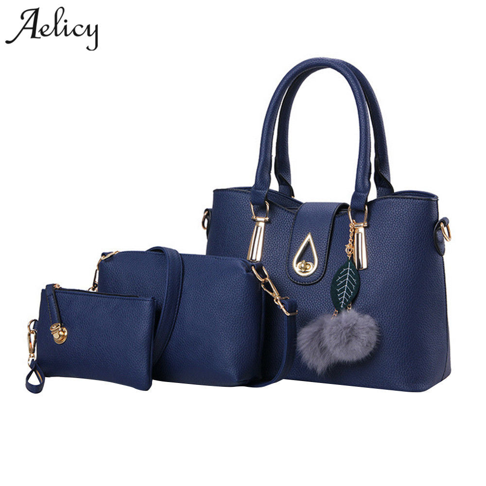 Aelicy Luxury 3 pcs leather traveling bag female fake designer handbags Europe and the United States crossbody bags for women - Shoplootlos