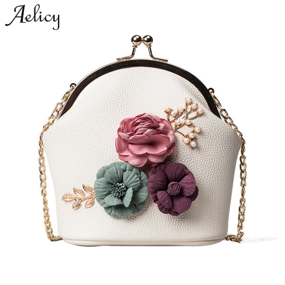Aelicy Women Fashion Shoulder Appliques Flowers Bag PU Leather Hasp Small Tote Cute Ladies Purse Messenger Crossbody Bag Handbag