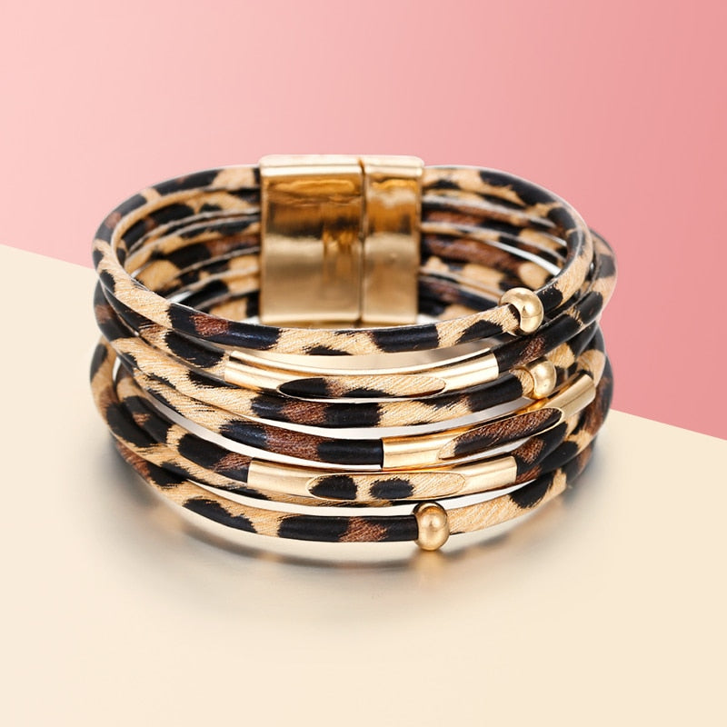 Amorcome Leopard Leather Bracelets For Women Bracelets & Bangles 2019 Fashion Elegant Boho Multilayer Wrap Wide Bracelet Jewelry - Shoplootlos