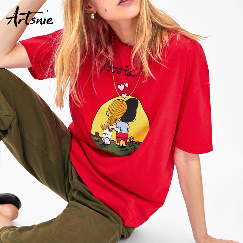 Artsnie summer 2019 cartoon red women t shirt o neck short sleeve knitted streetwear tees top casual girls funny t-shirt mujer