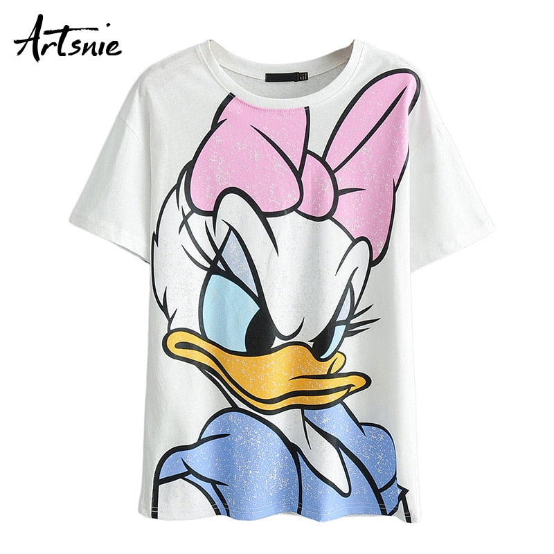 Artsnie summer 2019 loose cartoon women t shirt o neck short sleeve knitted tee tops streetwear casual camiseta mujer t-shirt