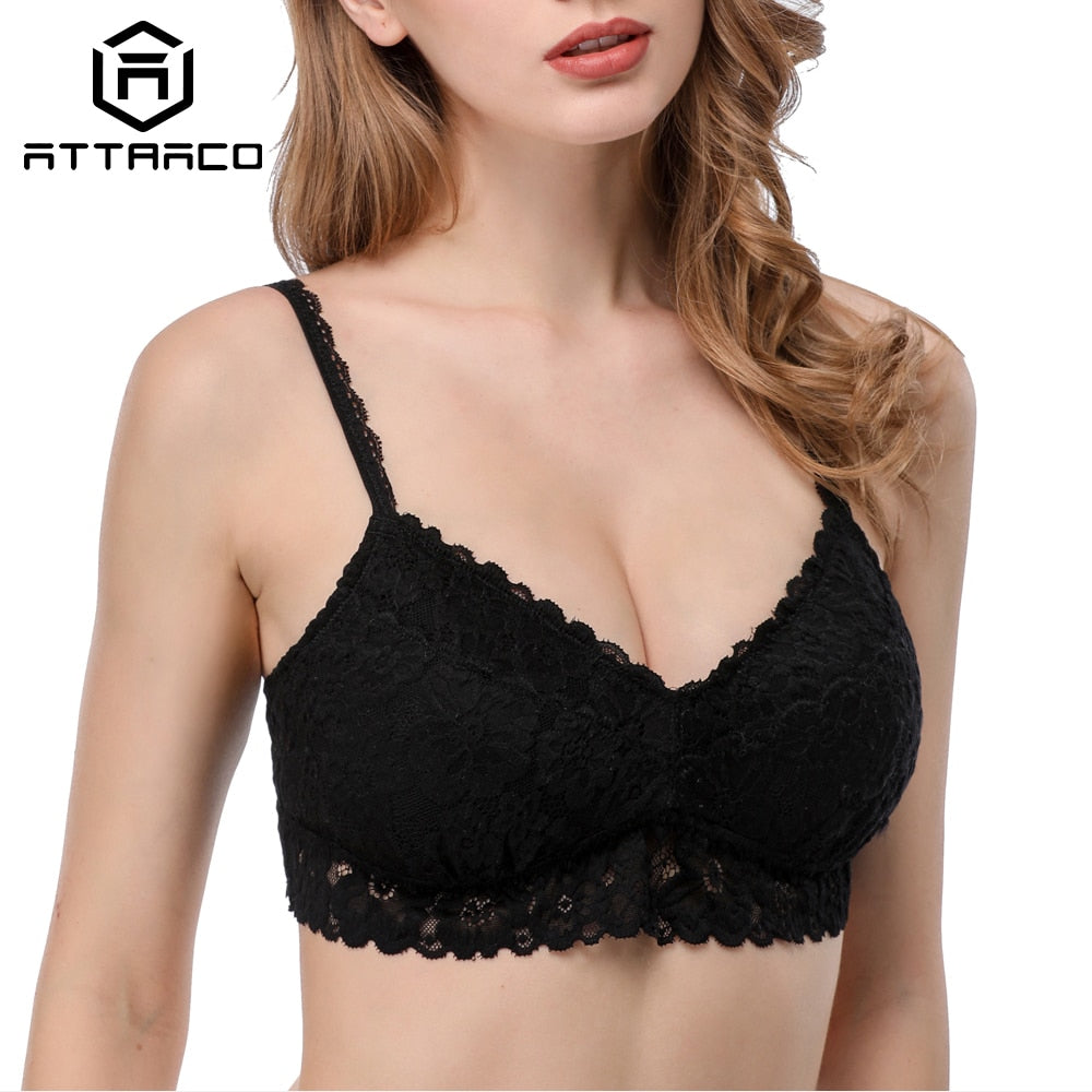 Attraco Women's Wireless Padded Bra Thicken Sexy Floral Lace Bralette Comfort Bras - Shoplootlos