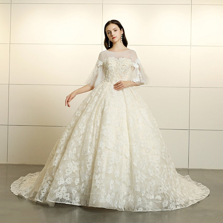 4089ed45f2a8 BEPEITHY Vestido de noiva New Design Elegant Batwing Sleeve Appliques Lace  Beading Ball Gown Tulle Wedding
