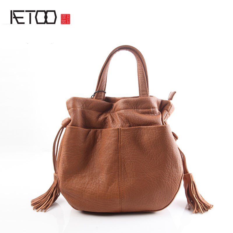 BJYL Pure leather kingdom pure skin Europe and the United States and Japan fashion retro retro shoulder buckets bucket bag lea - Shoplootlos