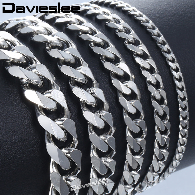 Bracelet for Men Women Curb Cuban Link Chain Stainless Steel Mens Womens Bracelets Chains Davieslee Jewelry for Men DLKBM05 - Shoplootlos
