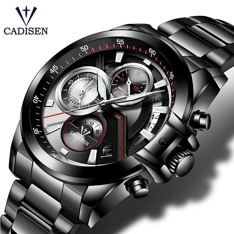 CADISEN 2018 Watch Men Top Brand Luxury Military Army Sports Casual Waterproof Mens Watches Quartz Stainless Steel Wristwatch - Shoplootlos