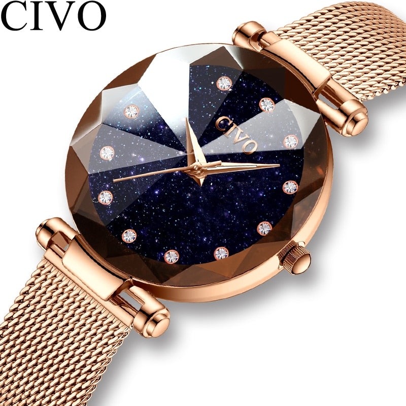 CIVO Fashion Luxury Ladies Crystal Watch Waterproof Rose Gold Steel Mesh Quartz Women Watches Top Brand Clock Relogio Feminino - Shoplootlos