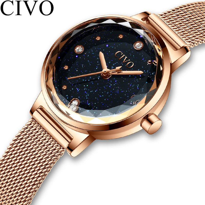 CIVO Fashion Luxury Watches Women Blue Face Quartz Watch Lady Mesh Watchband Casual Waterproof Wristwatches Gift For Wife 2019 - Shoplootlos