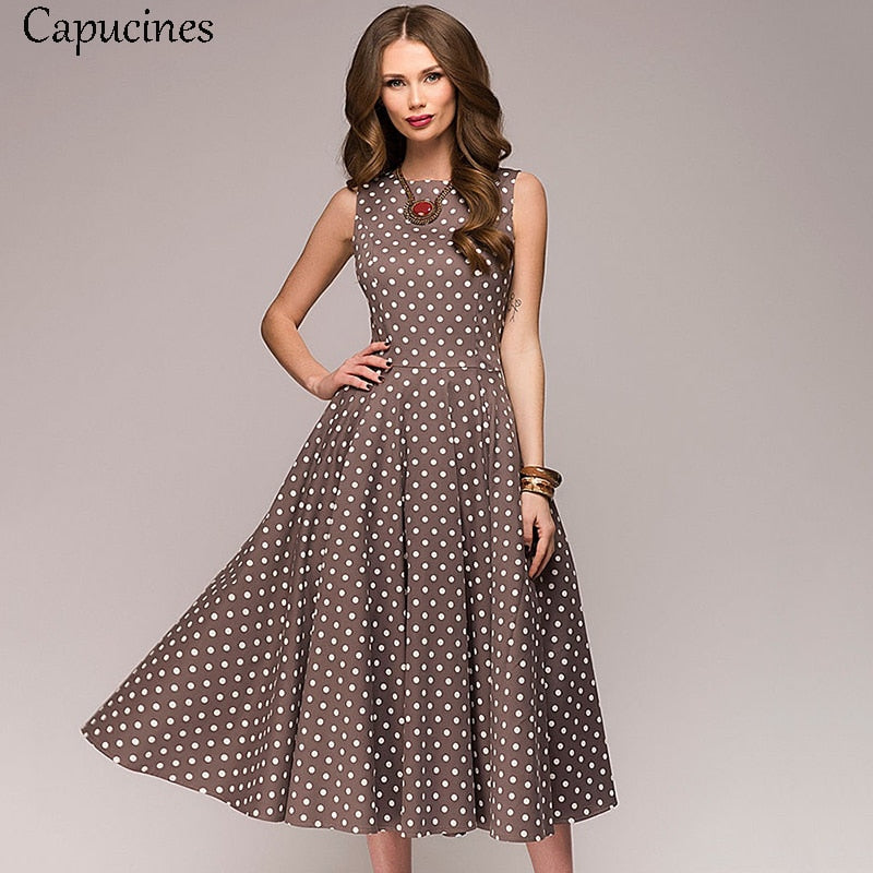 Capucines Elegant Vintage Dot Printing A-Line Dress Women 2019 Summer Sleeveless O-Neck Mid-Calf Casual Dress Female Vestidos - Shoplootlos