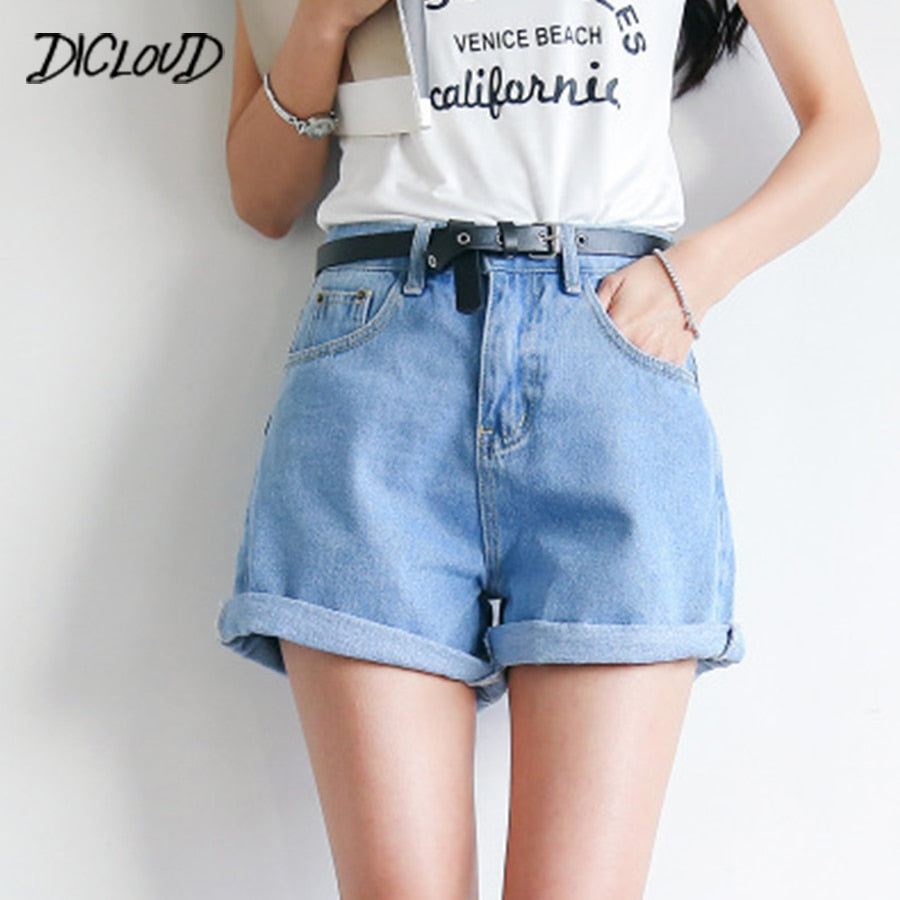 DICLOUD Solid Women Clothing Denim Shorts Harajuku Summer High Waist Jeans Slim Short Pants Feminino Cuffs Casual Jeans Gift 2XL