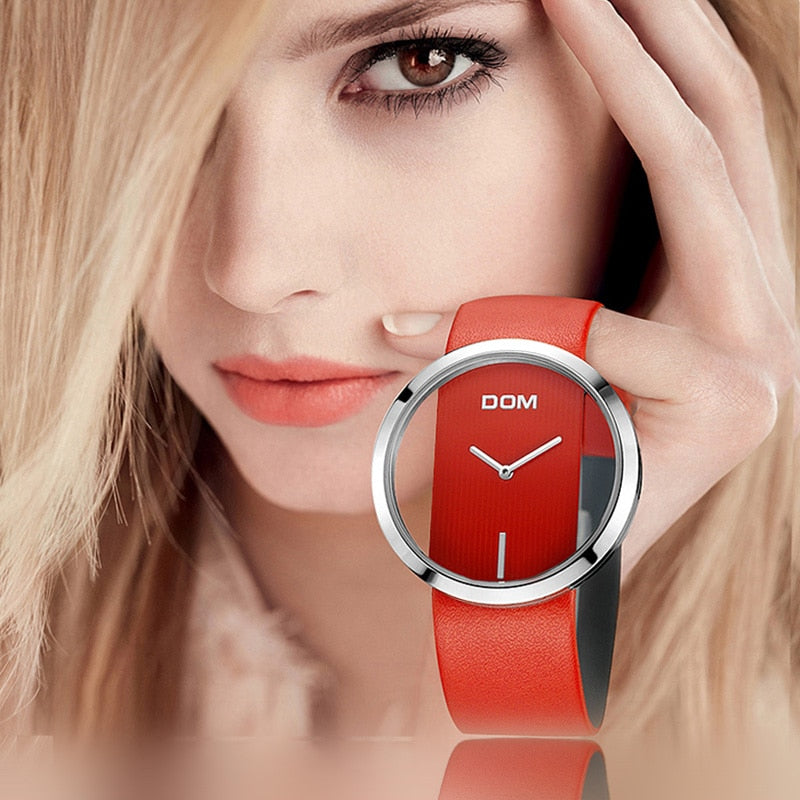 DOM Watch Women luxury Fashion Casual 30 m waterproof quartz watches genuine leather strap sport Ladies elegant wrist watch girl - Shoplootlos