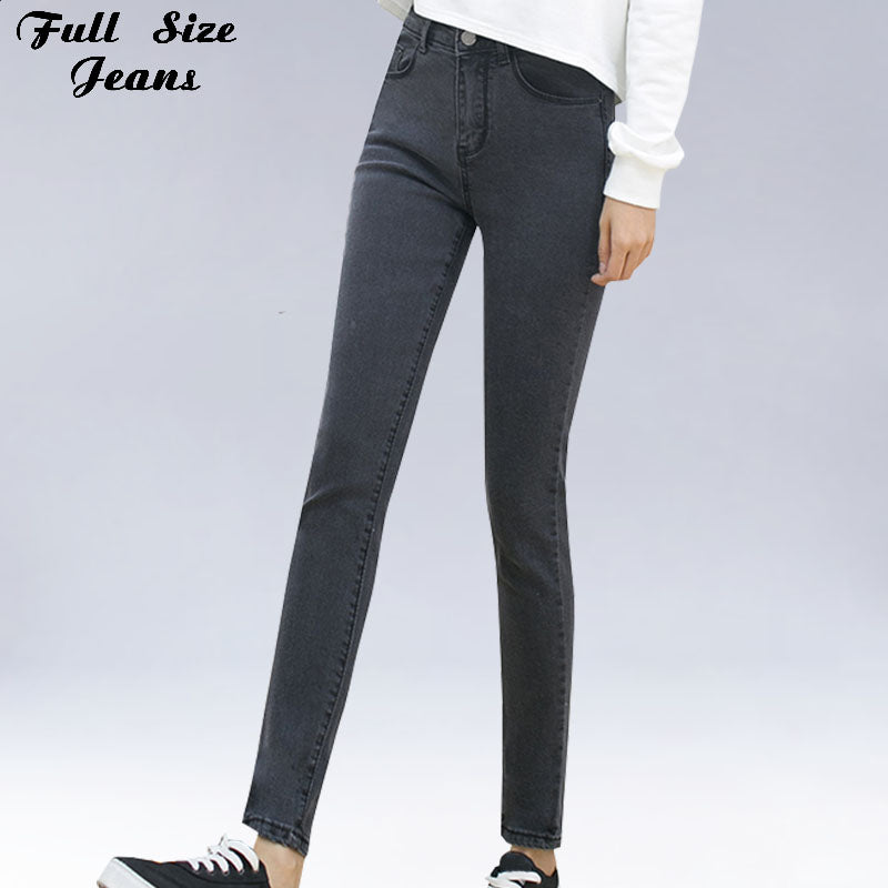 Dark Gray Skinny Jeans Extra Long Pencil Jeans 14 16 18 20 22W 24L 32 34 36 38 40W Xxxl 4Xl 5Xl Plus Size Denim Pants High Waist