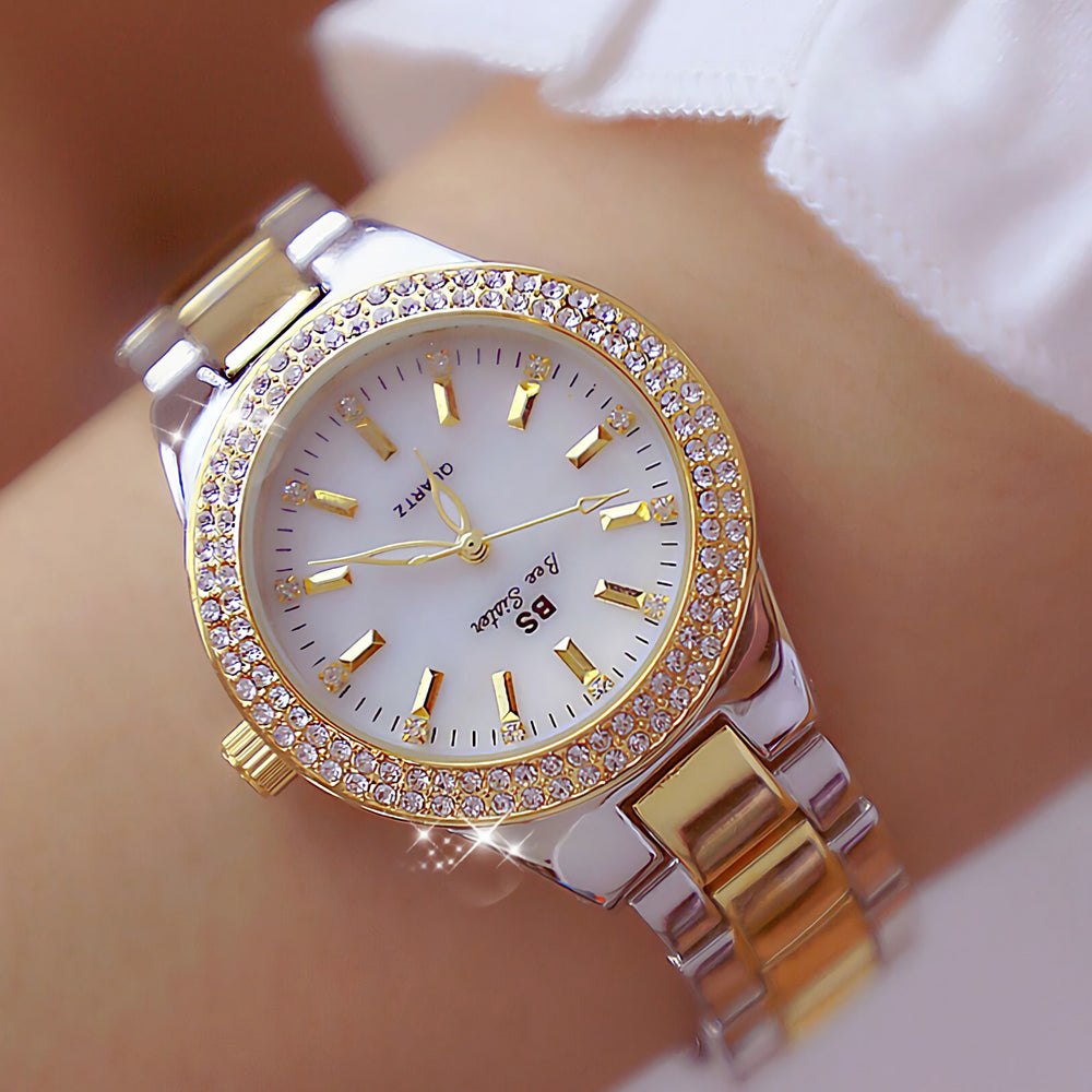 F 2019 Ladies Wrist Watches Dress Gold Watch Women Crystal Diamond Watches Stainless Steel Silver Clock Women Montre Femme - Shoplootlos