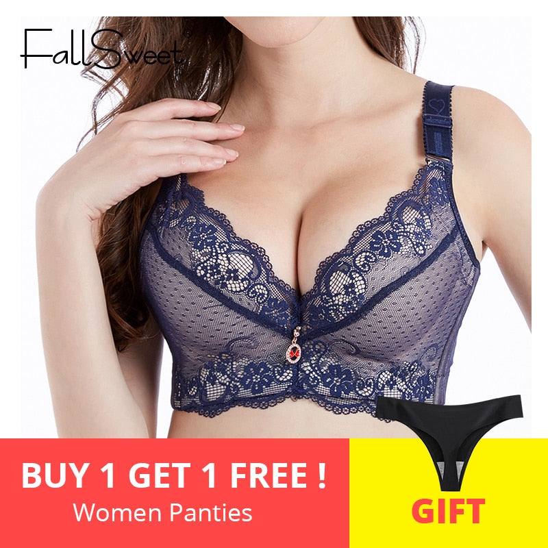 e49c1fef6 FallSweet Push Up Padded Bras for Women Lace Plus Size Bra Add Two Cup Underwire  Brassiere
