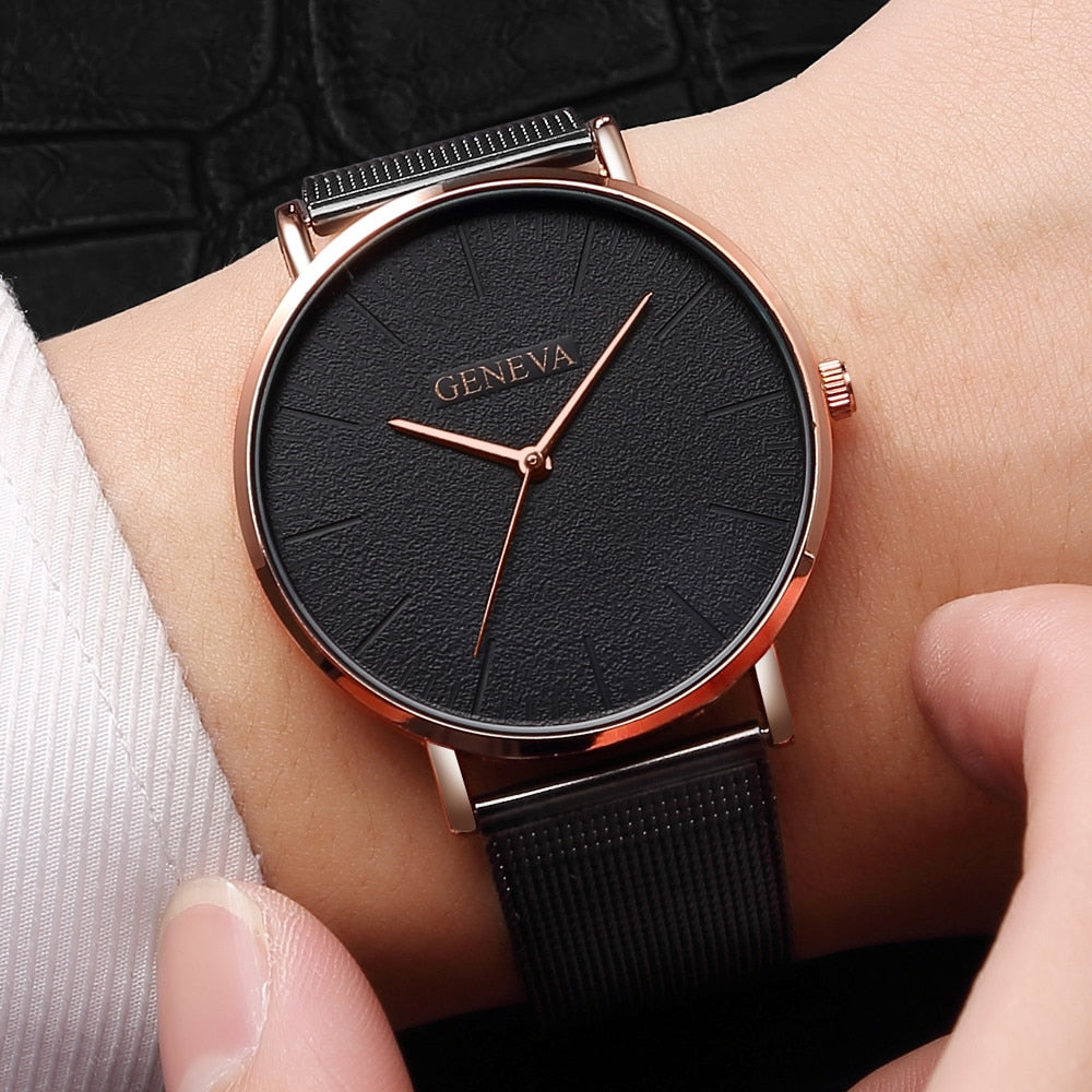 GENEVA Simple Women Watches Top Brand Luxury Stainless Steel Mesh Quartz Wristwatches Fashion Clock ladies Watch Montre Femme - Shoplootlos