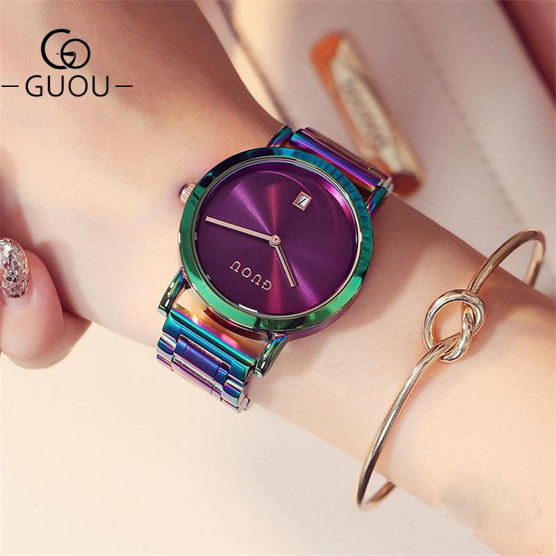 GUOU Watch Women Watches Fashion Colorful Stainless Steel Ladies Watch Luxury Women's Watches reloj mujer zegarek damski - Shoplootlos