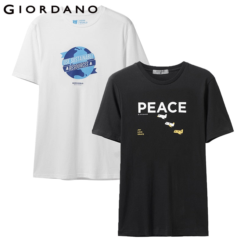 b2f20308 Giordano Men Tshirt Pack Of 2 Printed Graphic T-Shirt Short Sleeve Summer  Tops Funny