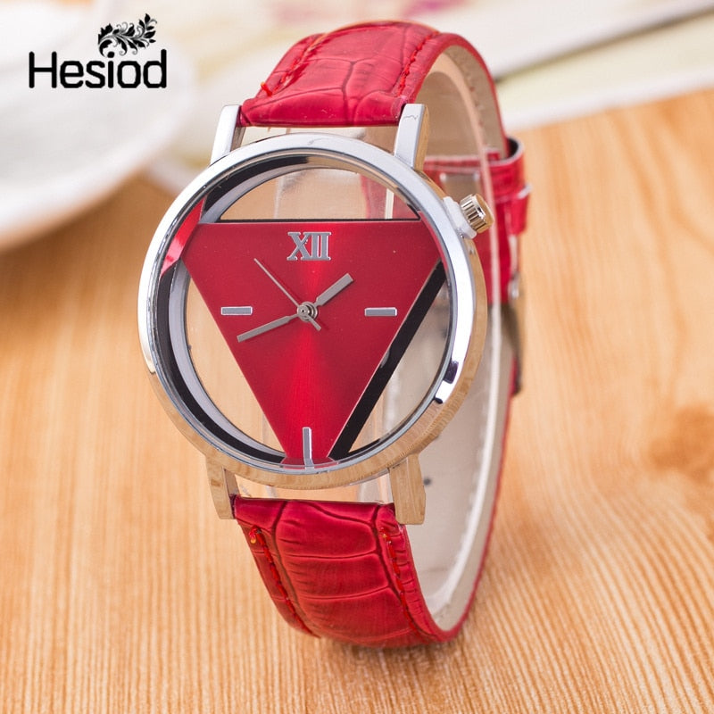 Hesiod New Design Fashion Ladies Watches Elegant Hollow Triangle Watch Fashion Women Thin Leather Strap Quartz Watch - Shoplootlos
