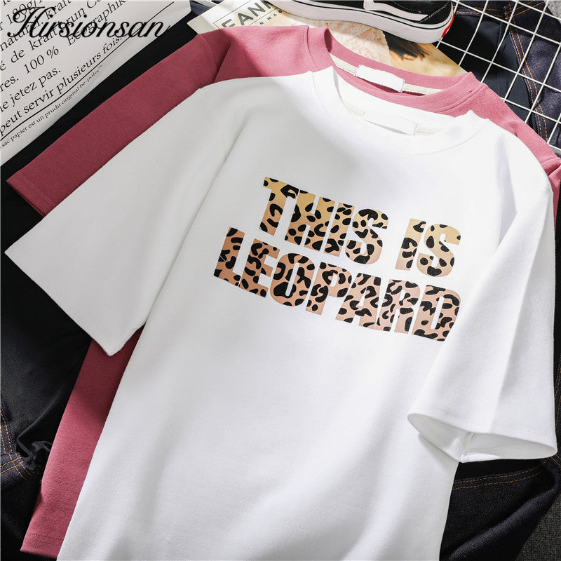 Hirsionsan Korean Summer Leopard Letters T Shirt Women 2019 Summer Loose O-Neck Short Sleeve Tees Harajuku Punk Woman Tshirts