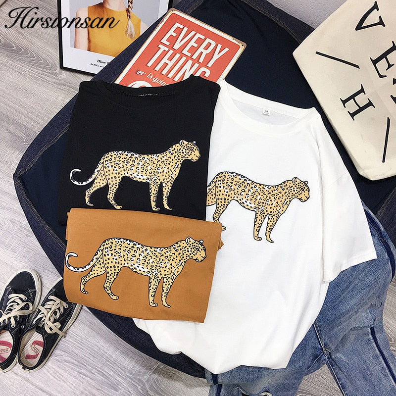 Hirsionsan Korean Summer Leopard T Shirt Women 2019 Cotton Loose O-Neck Short Sleeve Tees White Harajuku Black Punk Woman Tops