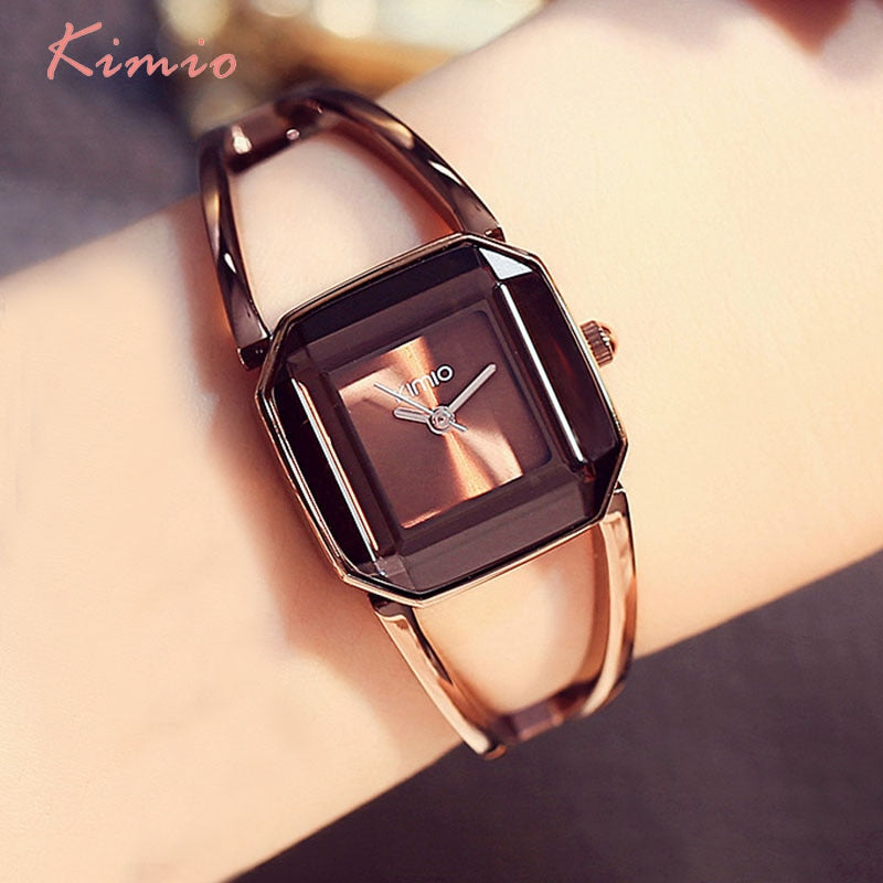 KIMIO Square Fashion Skeleton Bracelet Rose Gold Watches 2017 Luxury Brand Ladies Watch Women Female Quartz-watch Wristwatches - Shoplootlos