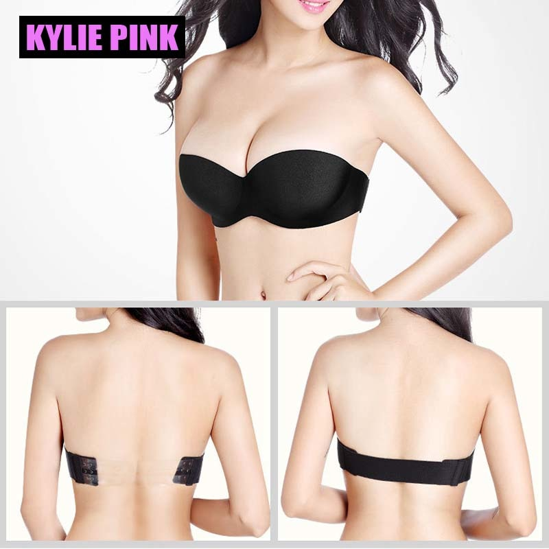 KYLIE PINK Bra Women Seamless Invisible Bras Female Underwear Strapless Push Up Sexy Lingerie clear back Brassiere Half Cup - Shoplootlos